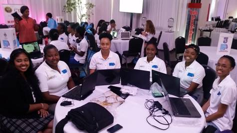 Students at Girls in IT Hackathon